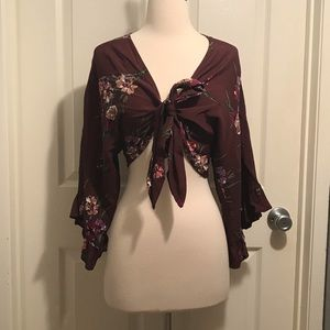 NWT Wine Floral Knot Top